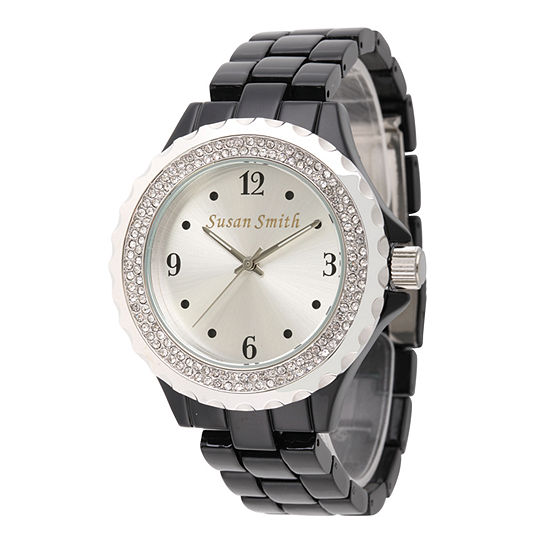 Personalized Womens Black Alloy Silver Dial Bracelet Watch