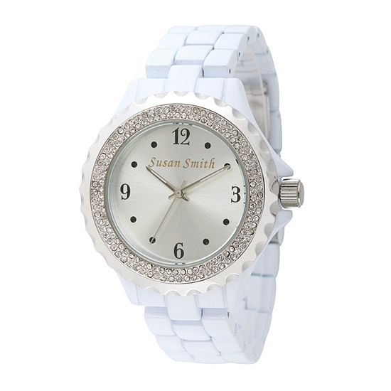 Personalized Womens White Alloy And Silver Tone Bracelet Watch