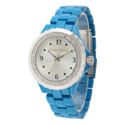 Personalized Womens Blue Allow And Silver Tone Dial Bracelet Watch