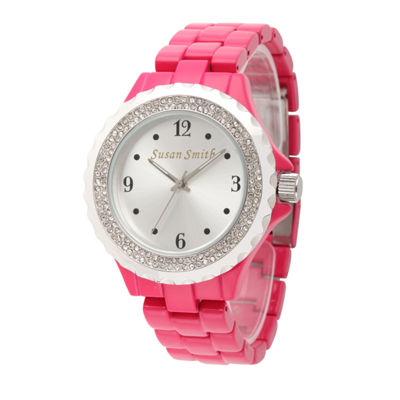 Personalized Womens Pink Alloy And Silver Tone Dial Bracelet Watch