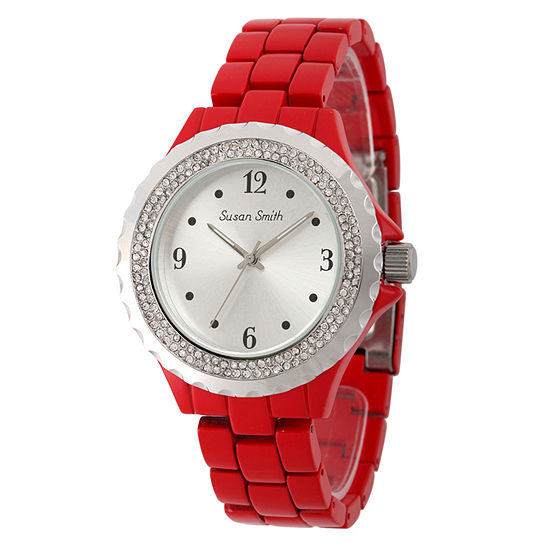 Personalized Womens Red Alloy And Silver Tone Dial Bracelet Watch