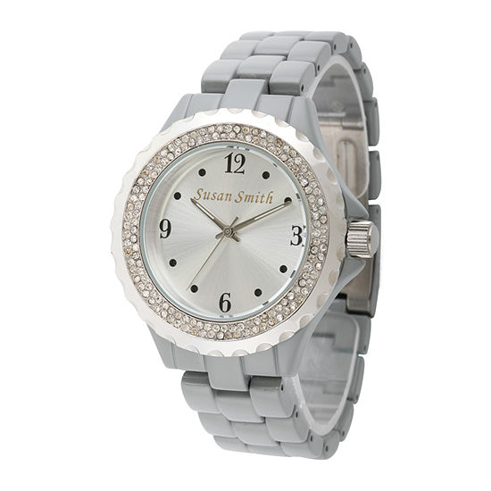 Personalized Womens Gray Alloy And Silver Tone Dial Bracelet Watch