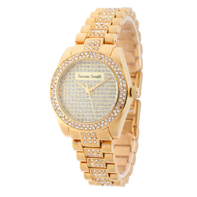 Personalized Womens Gold Tone Alloy Bracelet Watch
