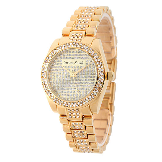 Personalized Womens Gold Tone Alloy Bracelet Watch