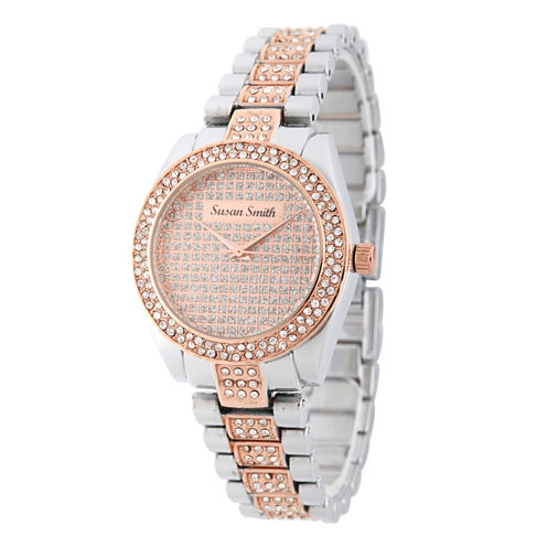 Personalized Womens Rose Gold And Silver Tone Bracelet Watch