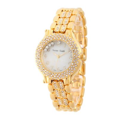 Personalized Womens Gold Tone Crystal Accent Bracelet Watch