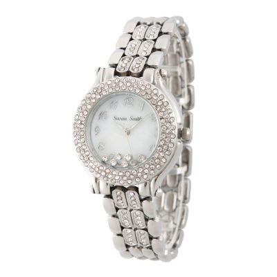 Personalized Womens Silver Tone Crystal Accent Bracelet Watch