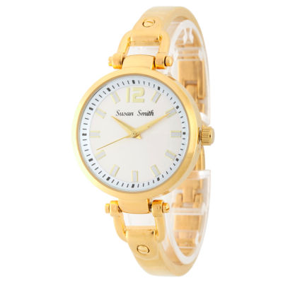 Personalized Womens Gold Tone Bangle Bracelet Watch
