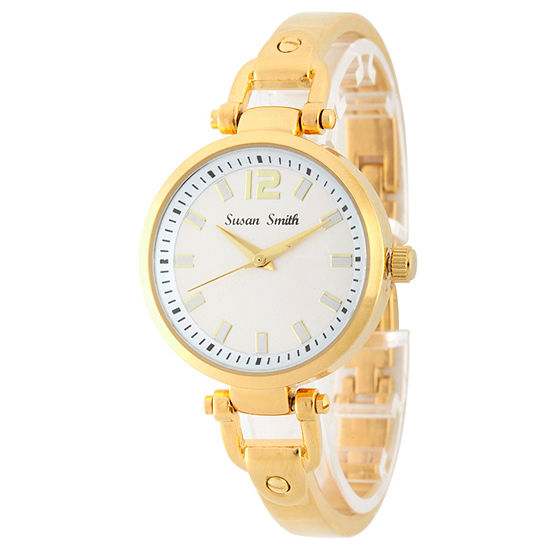 Personalized Womens Gold Tone Bangle Bracelet Watch