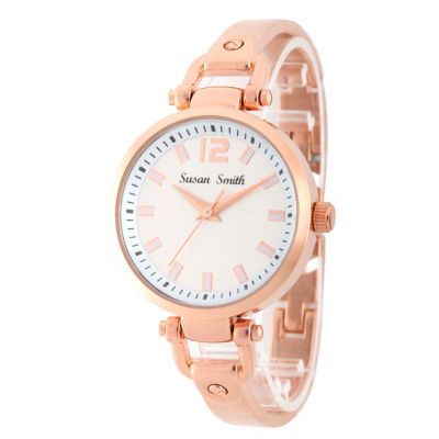 Personalized Womens Rose Gold Tone Bangle Bracelet Watch