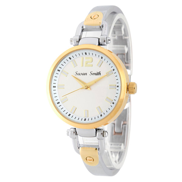 Personalized Womens Two Tone Bangle Bracelet Watch