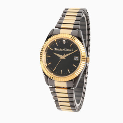 Personalized Mens Black And Gold Tone Diamond Accent Expansion  Watch