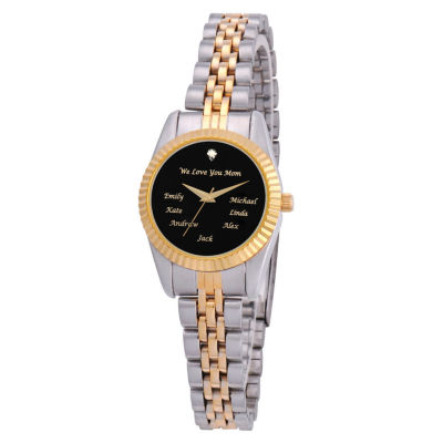 Personalized Womens Two Tone And Black Dial Family Diamond Bracelet Watch