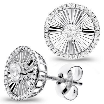 1/2 Diamond 14K White Gold Stud Earring