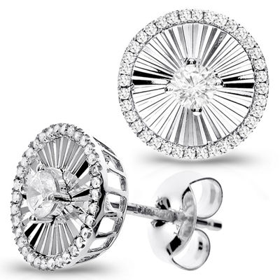 1/2 Diamond 14K White Gold Stud Earring