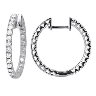 1 Diamond 14K White Gold Hoop Earring