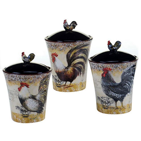 Certified International Vintage Rooster 3-pc. Canister Set
