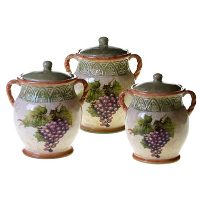 Certified International Sanctuary Wine 3-pc. Canister Set