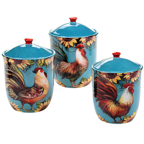 Certified International Sunflower Rooster 3-pc. Canister Set