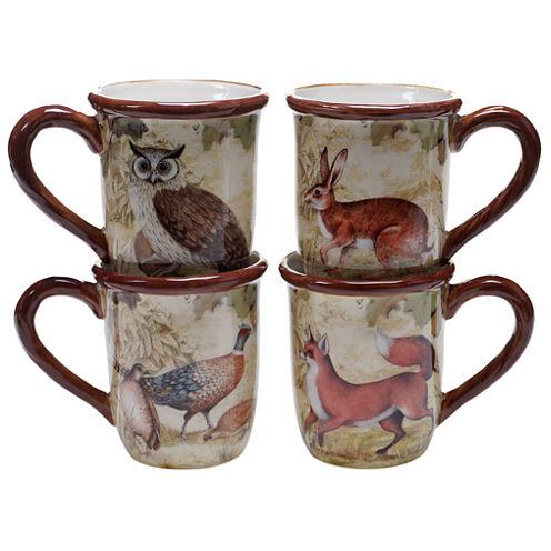 Certified International Rustic Nature Set of 4 Mugs