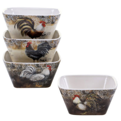 Certified International Vintage Rooster Set Of 4 Ice Cream Bowls