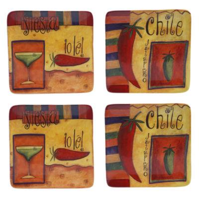 Certified International Salsa Set of 4 Dessert Plates