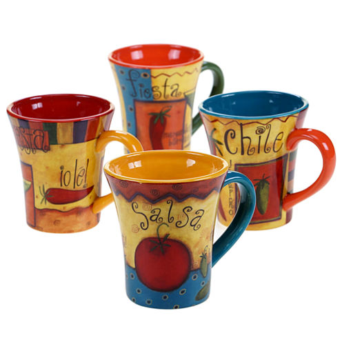 Certified International Salsa Set of 4 Mugs