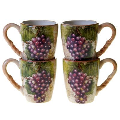 Certified International Sanctuary Wine Set Of 4 Mugs