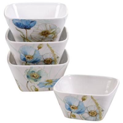 Certified International Greenhouse Set of 4 Poppies Bowls