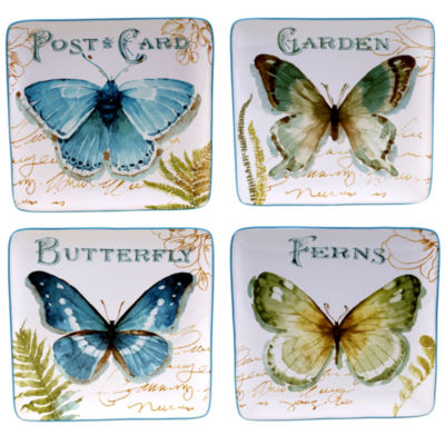 Certified International Greenhouse Set of 4 Butterfly Dessert Plates