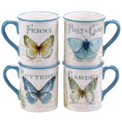 Certified International Greenhouse Set of 4 Butterfly Mugs