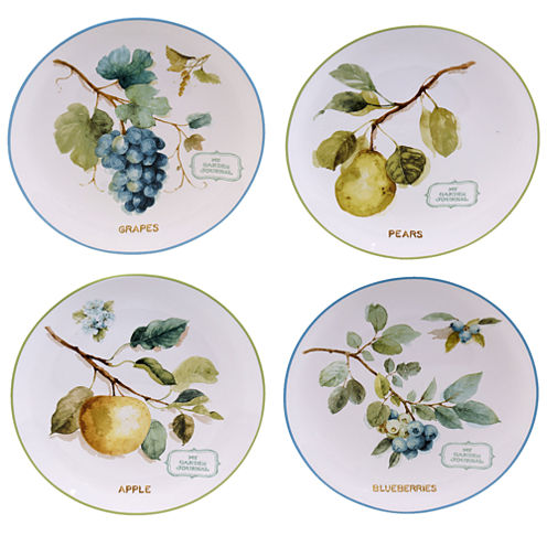 Certified International Greenhouse Set Of 4 Fruit Dessert Plates