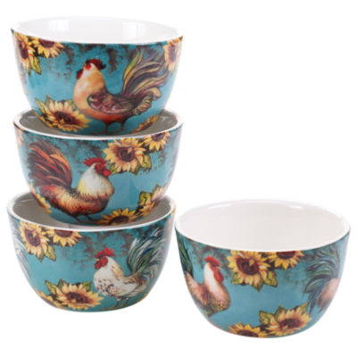 Certified International Sunflower Rooster Set of 4 Ice Cream Bowls