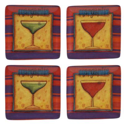 Certified International Salsa Set of 4 Canapé Plates