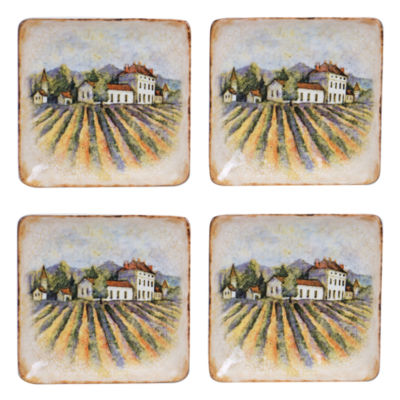 Certified International Sanctuary Wine Set of 4 Canapé Plates