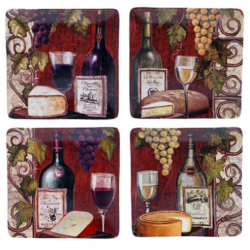 Certified International Wine Tasting Set of 4 Dinner Plates