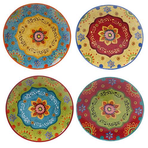 Certified International Tunisian Sunset Set of 4 Dinner Plates