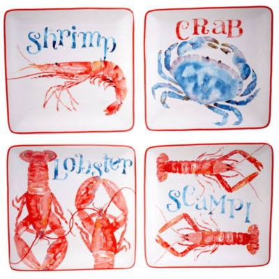 Certified International Beach House Kitchen Set Of 4 Canape Plates