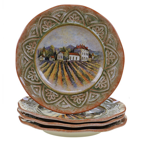 Certified International Sanctuary Wine Set of 4 Dinner Plates