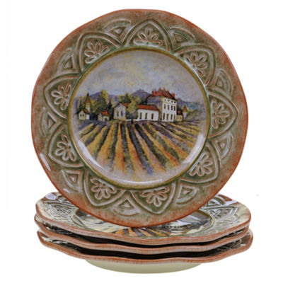 Certified International Sanctuary Wine Set of 4 Dinner Plates