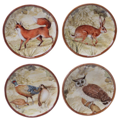 Certified International Rustic Nature Set of 4 Canapé Plates