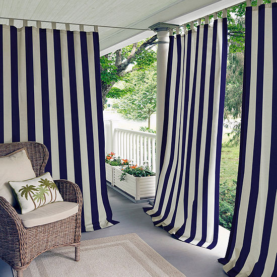 Highland Stripe Indoor Outdoor Tab Top Curtain Panel