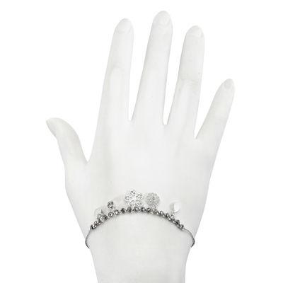 Mixit Silver Tone Flower Charm Bracelet