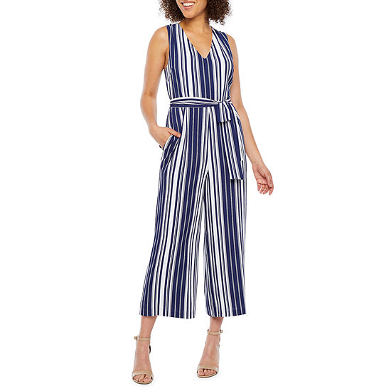 Nicole Miller Sleeveless Striped Belted Jumpsuit