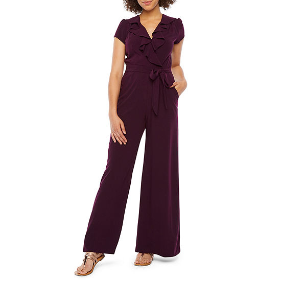 Danny & Nicole Short Sleeve Belted Jumpsuit