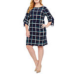 Studio 1 3/4 Sleeve Puff Print Shift Dress-Plus