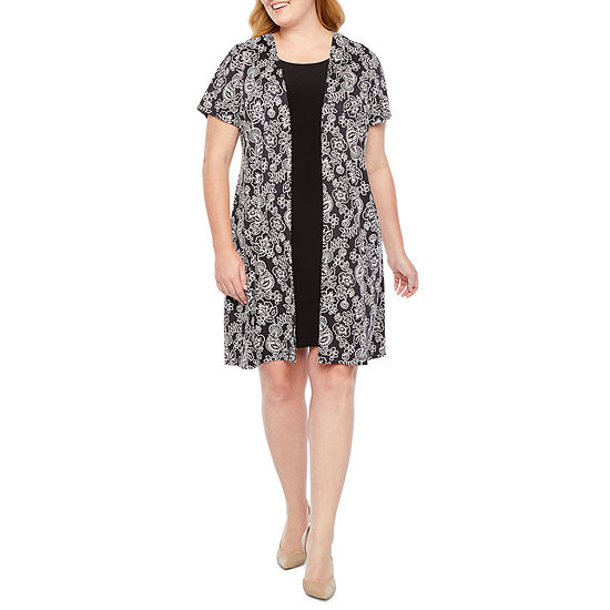 Perceptions Short Sleeve Puff Print Faux Jacket Dress-Plus