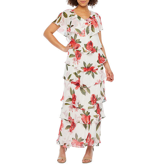 S. L. Fashions Short Sleeve Floral Tiered Evening Gown