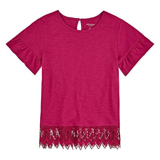 Arizona Girls Round Neck Short Sleeve Lace Trim T-Shirt