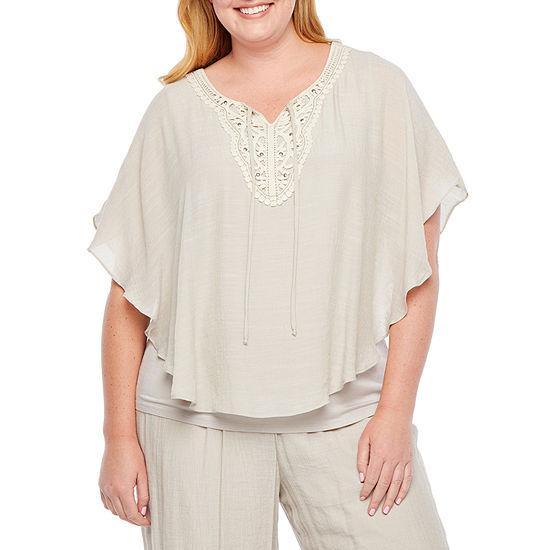 Alyx Womens V Neck Short Sleeve Blouse Plus